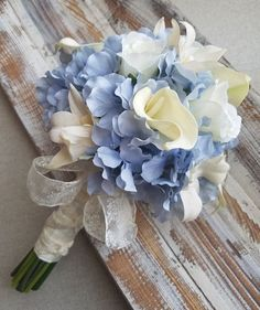 Wedding Bouquet Blue And White / BlueHydrangeas, Calla lilies, Roses and Orchids