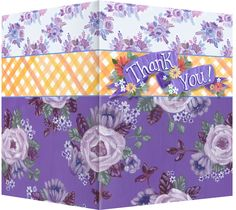 Thank you purple and orange greeting card.  Blank inside. Available retail or wholesale:  http://www.violetcottage.com/thank-you/296-thank-you-blank-inside-purple-orange-flowers.html