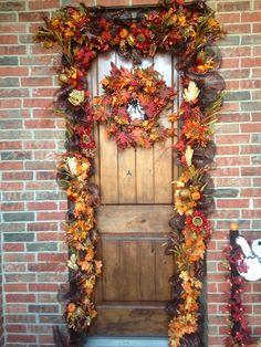 front door deco mesh fall - Deco Mesh Halloween Garland
