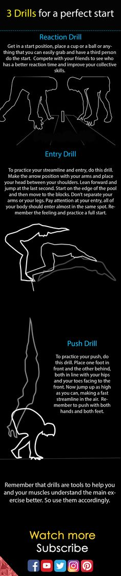 3 Drills for a perfect start. Swimming freestyle breastroke butterfly. Full video here
