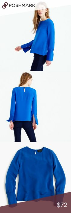J. Crew Silk Top with Stitching NWT!   Gorgeous cobalt blue silk top with detailed stitching on  sleeves.  Perfect for year-round wear  Open to reasonable offers J. Crew Tops