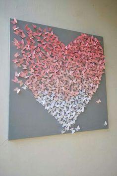 Light Pink Ombre Butterfly Heart on Grey/ Butterfly Wall Art / Nursery Art /Children's Room Decor / Engagement / Wedding Gift - gefällt mir - Decoration Art Diy, Diy Wall Art, Nursery Wall Art, 3d Wall, Nursery Canvas, Art Mural Papillon, Butterfly Wall Art, Mariposa Butterfly, Origami Butterfly