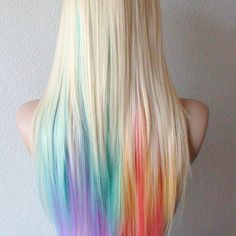 pastel high;lights on blonde hair