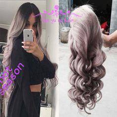 Cheap wig cap, Buy Quality wig cosplay directly from China wig gray Suppliers:           ombre grey lace front wig glueless full lace human hair grey wigs hot wavy brazilian u part wig 130-180% densi
