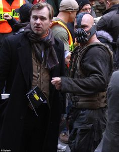 On the set of the Dark Knight Rises with Christopher Nolan and Tom Hardy as Bane