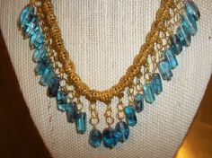 fantastic blue with black swirls gold plated chain by crgoldart, $25.00