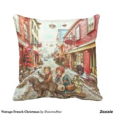 Vintage French Christmas Pillow