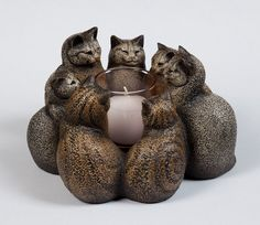 Circle of Cats Candle Holder 7 Stone Kittens by WindstoneEditions