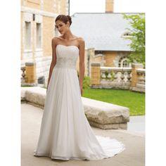 Strapless Chiffon A Line Wedding Dresses WA-00070 - Wedding Dresses Style - Dressesonwedding.co.uk