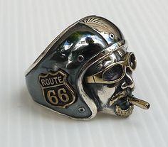 Route 66 Biker Helmet Ring. 925 sterling silver with black metal coated.