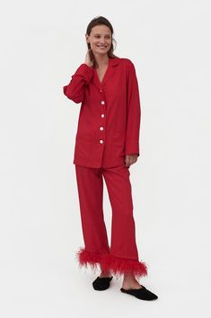 Sleeper Party Pajama Set With Feathers in Red Cute Pajamas, Pajamas Women, Shearling Slippers, Red Feather, Oeko Tex 100, Silk Slip, Viscose Fabric, Black Linen, Ladies Party