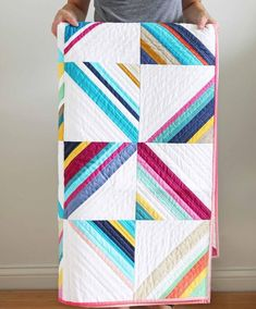 half square triangle modern solids quilt
