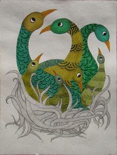 Birds in gond style New Rangoli Designs, Ink Pen Drawings, Easy Drawings, Doodle Art Drawing, Free Hand Drawing, Madhubani Art, Indian Folk Art, Madhubani Painting, India Art