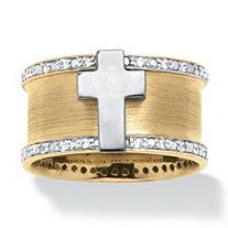 Men's .20 TCW Cubic Zirconia Cross Ring in 18k Gold over Sterling Silver