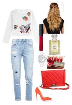 Untitled #27 by lillylilit on Polyvore featuring polyvore, fashion, style, Carven, Paige Denim, Christian Louboutin, Chanel, NARS Cosmetics, Creed, Natasha Accessories and Dolce&Gabbana