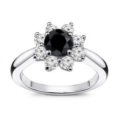 1.80 Carat Flower Design Black Diamond Engagement Ring
