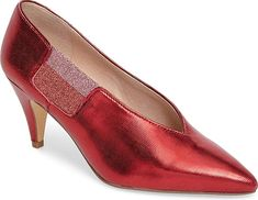 Free People Women's Shoes in Red Color. A tonal elastic side inset and raised V-cut throat bring a sleek, contemporary look to a tapered-heel pump with a pointed toe.