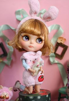 Sweet bunny 1/6 12 Blythe Pullip doll clothes outfit by DollWigDIY