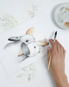 Watercolor Pictures, Watercolor Animals, Watercolor Cards, Watercolor Illustration, Painting & Drawing, Watercolour Painting, Animal Drawings, Cute Drawings, Lapin Art