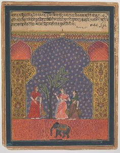 """""""Solanki Raga"""", Folio from a Ragamala Object Name: Folio from an illustrated manuscript Date: ca. 1590 Geography: India, Deccan, probably Ahmadnagar Culture: Islamic Medium: Ink and opaque watercolor on paper"""