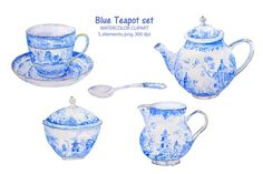Watercolor clipart blue teapot cup - Illustrations - 1