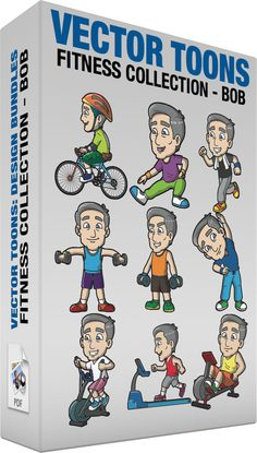Fitness Collection Bob:  Bundle of images includes the following:  A Mature Man Riding A Bike A man with gray hair wearing an apple green shirt green cargo shorts white socks blue with white shoes orange and yellow helmet with a blue green chin strap elbow pads a brown belt bag smiles while riding a bicycle  A Mature Man Stretching Before An Exercise A man with gray hair wearing a purple shirt apple green jogging pants white with blue sneakers orange wrist bands smiles while stretching his…