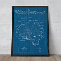 MapHazardly - Wiesbaden, Germany | City Blueprint Map Art