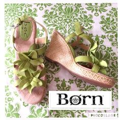 BORN Green Floral Leather Comfort Wedges Sandals 7 NWOT Beautiful and Comfortable Born Concept Wedges featuring fun green soft leather straps and floral detail, soft footbed with padded arch support, and adjustable buckle strap. Size 7 or 38. There are a couple little dark marks from being in the store, and has sticker residue on the heels of footbed. Great for the spring and summer! Very feminine and beachy. Born Shoes Wedges