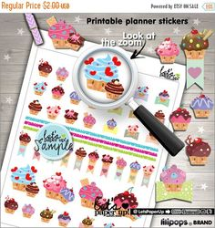 60%OFF - Cupcake Stickers, Printable Planner Stickers, Sweet Stickers, Erin Condren, Planner Accessories, Life Quotes, Inspirational, Functi
