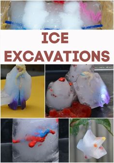 Brilliant ideas for making ice excavations. Freeze a princess, superhero or even some plastic spiders. Science For Toddlers, Preschool Science Activities, Science Experiments Kids, Science Fun, Preschool Ideas, Toddler Activities, Teaching Ideas, Activities For 5 Year Olds, Winter Activities For Kids