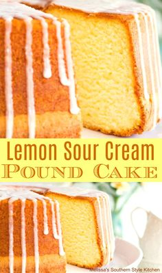 This amazing lemon sour cream pound cake is a recipe from my bestseller Melissa's Southern Cookbook. I wrote this cookbook as a labor of love sharing some of my own family's favorite recipes and I… Spring Desserts, Lemon Desserts, Lemon Recipes, Just Desserts, Baking Recipes, Delicious Desserts, Dessert Recipes, Southern Desserts, Fluff Desserts