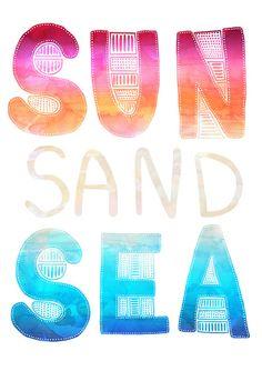 SEA SAND SUN Art Print By SchatziBrown http://papasteves.com/
