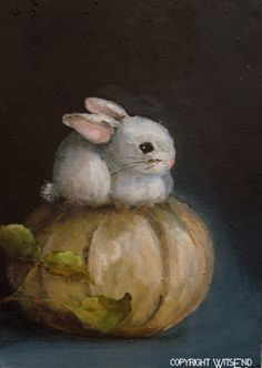 """'MIDNIGHT, MOONLIGHT, AND WHAT I SAW IN THE PUMPKIN PATCH""""..original painting by WitsEnd via Etsy. SOLD"""