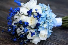 blue and white bridal bouquet - hydrangea, roses and delphinium by www.CreationsbyDebbie in Nashville Tennessee