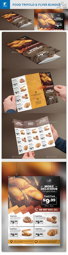 Food Trifold & Flyer Bundle Template #design Download: http://graphicriver.net/item/food-trifold-flyer-bundle/12510901?ref=ksioks