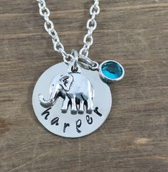 Personalized Elephant Necklace  Hand stamped by SunflowerShadows