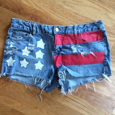 Hand painted cut offs Daisy Dukes. Distressed and hand painted. Cute and patriotic. Route 66 Shorts Jean Shorts