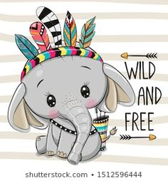 Illustration about Cute Cartoon Elephant with feathers on a stripes background. Illustration of boho, hand, freckles - 159378655 Cartoon Cartoon, Cute Cartoon Drawings, Cute Animal Drawings, Elefante Tribal, Cute Elephant Cartoon, Cartoon Elephant Drawing, Baby Animals, Cute Animals, Cute Cartoon Animals