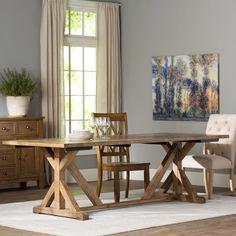 Coastal Natural Wood Trestle Extension Dining Table Extensions - Tuscan spring dining table