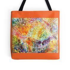 Sailfish Tote bag - colourful orange, yellow, purple steampunk sailfish design