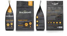 Beautiful pops of color against a black background. I also love the infographic feel to the lower half of the package. Blackwood Dog Food Packaging Redesign on Packaging Design Served