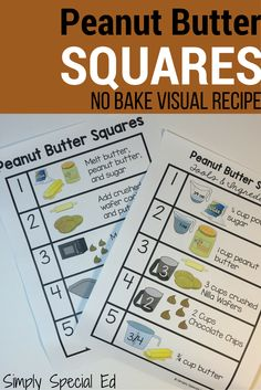 Peanut Butter Squares visual recipe for cooking with students with special needs!