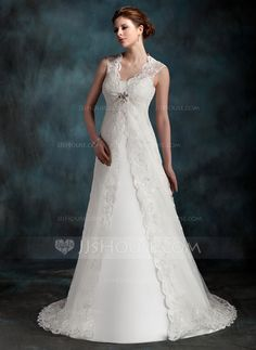 Wedding Dresses - $146.99 - A-Line/Princess Scoop Neck Court Train Tulle Wedding Dress With Ruffle (002001296) http://jjshouse.com/A-Line-Princess-Scoop-Neck-Court-Train-Tulle-Wedding-Dress-With-Ruffle-002001296-g1296