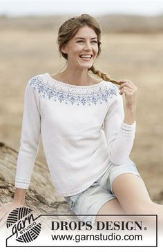 """Knitted DROPS jumper with raglan and round yoke in """"BabyMerino"""". Size: S - XXXL. Baby Knitting Patterns, Jumper Patterns, Drops Patterns, Free Knitting, Free Crochet, Knit Crochet, Drops Design, Hermione Granger Outfits, Raglan"""