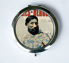 Compact MIRROR Pocket Mirror  tattooed man sideshow by che655