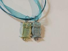 Two perched owl resin pedants necklace. by LilandAriy on Etsy