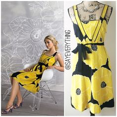 """☀️SALE! Moulinette Soeurs Brighter Seasons Dress ✅ SALE PRICE FIRM. ✅ BUNDLE & SAVE. ❌ NO OFFERS! Diamond-textured silk hosts close-up renderings of open yellow tulips. Black grosgrain ties them together like the ribbon of a spring bouquet. By Moulinette Soeurs. From Anthropologie. 100% silk outer and silk/acetate lining. Hidden side zip with side angles pockets. Excellent condition - no holes or stains. Size 4. Bust is 15.5"""" across and length is 40."""" Thanks for looking! Bundle and save…"""
