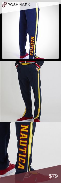 Nauticas Lil Yachty Classic Fit Track Pants, NWT⛵️ GRAMMY nominated artist Lil Yachty and Nautica combined forces to create an exclusive collection of one-of-a-kind looks. These track pants let you kick back in casual throwback style thanks to an iconic logo design and an athletic profile to keep it sporty. 80% Cotton, 20% Polyester,Machine wash, Comfortable elastic waistband with drawstrings, Side pockets & back pocket!     A traditional, easy fit for everyday style; relaxed cut for a…