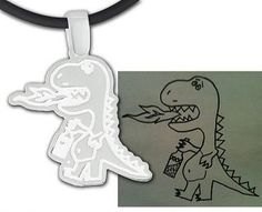 Send in your kids artwork or photo and have it made into a streling silver pendant!  Great deal on livingsocial right now (June 14, 2013).  Follow this link to buy a pendant for $29 (regularly $129)  and use code FATHERSDAY to get an extra 25% off.  https://www.livingsocial.com/deals/679686?ref=conf-jp=121514730