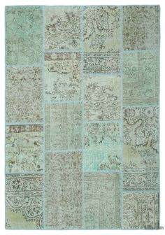 Green Over-dyed Turkish Patchwork Rug